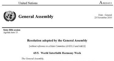 World Interfaith Harmony Week – UN General Assembly Resolution 65/5