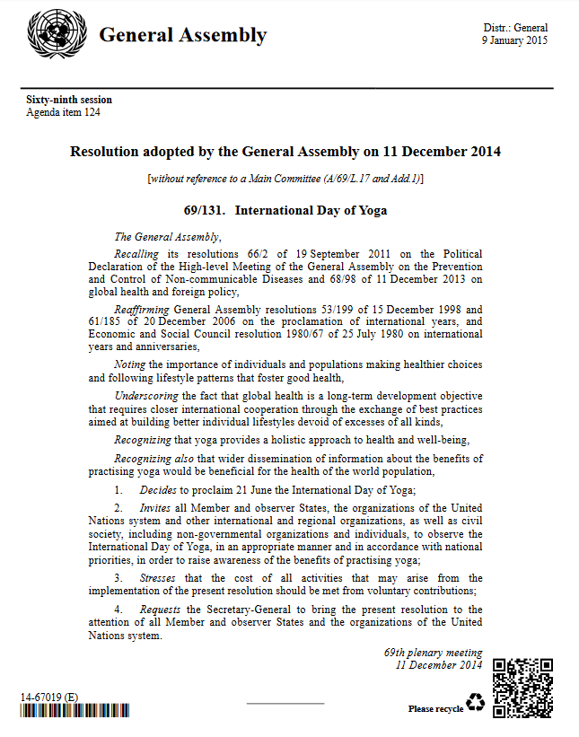 International Day of Yoga -Resolution adopted by UN on 11 December 2014