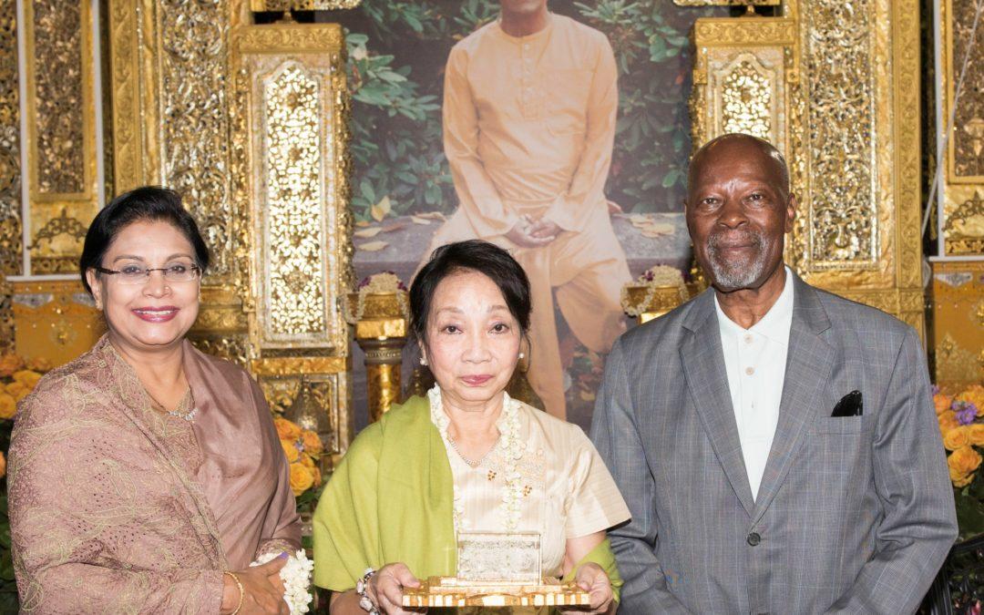 Daw Aye Aye Thant, daughter of third UN Secretary-General U Thant, Receives Sri Chinmoy Culture-Light Award