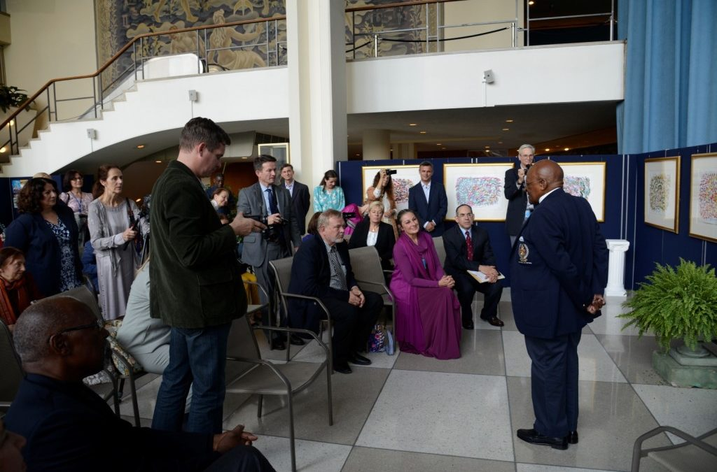 Archbishop Desmond Tutu Visits Exhibition of Paintings for World Harmony, 14 October 2012